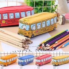 Cartoon Bus Canvas Pen Pencil Case Makeup Box Storage Zipper School Bags Toy