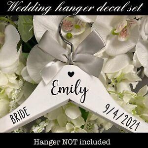 Personalised VINYL Wedding Coat Hanger Decal Stickers inc NAME+ROLE+DATE - DIY