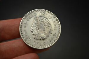1948 Mexico Cinco Pesos 30g .900 Silver Estados Unidos Mexicanos Coin