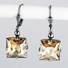 Ohrringe Ohrhänger Silber Altsilber Swarovski Kristall Carrée Golden Shadow gold