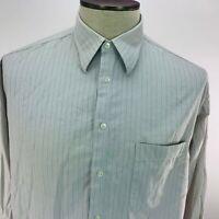 Armani Le Collezioni Mens 16-34/35 Striped Gray Long Sleeve Button Front Shirt