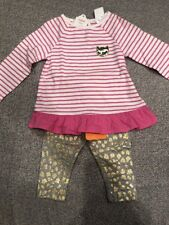 Nwt Gymboree Baby Girl 2-piece Set pink gold kitty cat leopard Winter 6 9 12