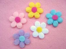 50 Furry Felt 6 petal Colorful Flower Applique/Hair Bow Trim/Padded/Craft H156
