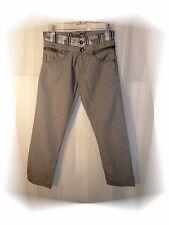 C - Pantalones de lona De fantasía Gris Doble Cinturón Desigual Talla 28 - 38 FR
