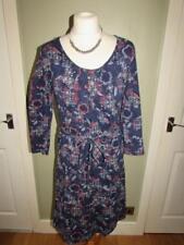 MANTARAY DEBENHAMS Ladies Navy Blue Pink Floral Jersey Dress & Belt Size 10 VGC