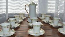 Antique Vintage Limoges Haviland Green Floral Pattern Chocolate Pot Set for 10
