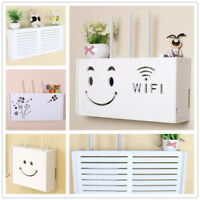 White Wifi Router Storage Box Plastic Shelf Wall Hanging Bracket Cable Organizer