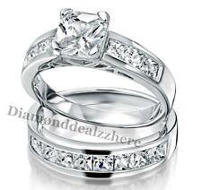 925 Sterling Silver Princess Lab Diamond Engagement Ring Wedding Set Womens sz 5