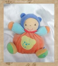 Doudou Poupée Collection Baby Peluche Boule Orange Bleu Vert Grelot Kaloo