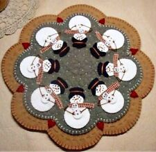 "Primitive Wool Felt Candle Mat Penny Rug Kit, Wool Embroidery, ""SNOW MOMS"""