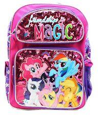 """My Little Pony Girls 12"""" Canvas Pink & Purple School Backpack Girls Rule!"""