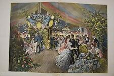 ESTAMPE couleur Marine française Bal à bord C.Detti  typogravure 1885