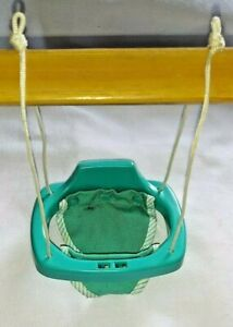 1980-90 Toy Playset Dollhouse Teal Toddler Swing Cloth & Plastic, Fisher Price?
