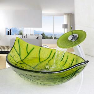 Bathroom Green Leaf Shaped Glass Vessel Basin Sink Bowl Waterfall Faucet  Set