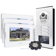 HOMSECUR 7'' LCD Video Intercom with IR Metal Camera & Door Release for 3-Units