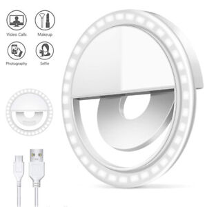Handy Ringlicht Selfie Ring Light 28 LED iPhone Samsung Tablet Smartphone USB