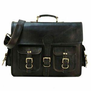 Vintage Leather DSLR Camera Bag Padded Briefcase Macbook Messenger BLACK bag