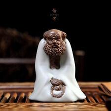 Chinese Porcelain Ceramic Ware Ru Kiln Dharma In Meditation Tea Pet Decoration