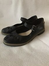 Clarks Somerset Leather Flat Shoes Black Buckle Fastening UK 6 / 39 Some Damage