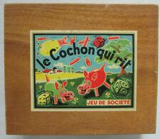 Ancien Jeu de société Le Cochon qui Rit / Coffret bois, 8 cochons en plastique