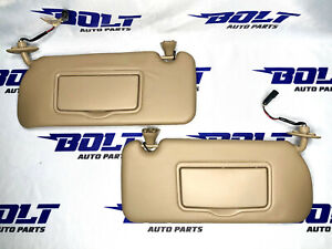 2004 - 2009 CADILLAC SRX sun visors set right left TAN leather OEM sunvisor pair