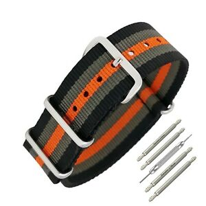 Masar 18mm à 22mm Bracelet de Montre NATO Black Grey Orange Nylon Gris Noir