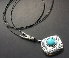 long Real Leather necklace with Hammered silver and turquoise pendant Lagenlook