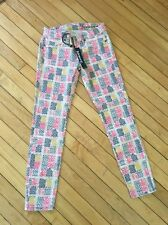 Blank NYC Womens Jeans Ankle Skinny Pink Yellow Grey Print Stretch Size 26