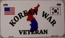 Aluminum Motorcycle License Plate Military Korean War Veteran NEW Wheelchair