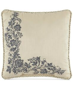 """Croscill 16"""" Square Decorative Pillow Daphne Floral Embroidery Ivory 167"""