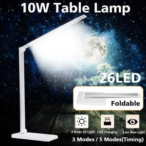 26 LED Folding USB Adjustable LED Reading Table Lamp Dimmable Desk White