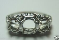 Antique Vintage Engagement Setting 18K White Gold Hold 1-5MM 2-4MM Ring Size 6