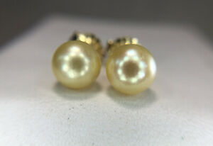 Estate 14k Yellow Gold Cultured Cream Color Pearl Stud Earrings