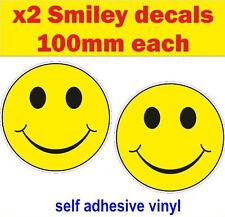 2x SMILEY fun stickers bumper acid rave vw mini van bus decal car bike rave GB