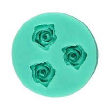 3 Mini Roses Silicone Mould Baking Cake Cupcake Topper Icing Emboss Decoration