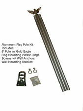 6' 6ft Aluminum Flag Pole Kit With Gold Eagle Topper