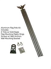 6' 6ft Aluminum Flag Pole Kit With Gold Eagle Topper