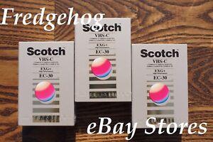 3 x SUPER SCOTCH EC-30 EXG COMPACT VHS-C VIDEO CAMCORDER TAPES / CASSETTES
