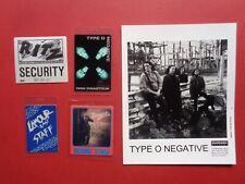 Type O Negative,B/W promo photo, 4 Backstage passes,Rare Originals
