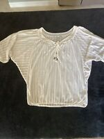Women's Guess Knit Top Size Small 3/4  Sleeve Beige Peasant Style