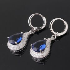 Fashion jewellery! 18k white gold filled sapphire charming dangle earring