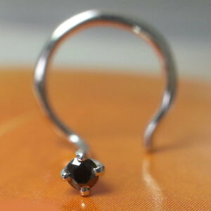 1.7mm 100% Natural Treated Black Color Diamond Nose Piercing Stud Ring Pin 14k