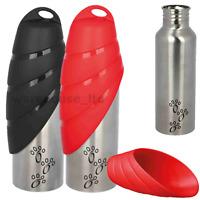 Trixie Pet Dog Water Bottle Pet Travel Bowl Stainless Steel Bottle Outdoor Dexas