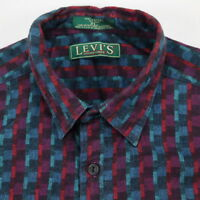 Vtg LEVIs Sutter Creek Flannel Shirt Mens XL USA Made Textured Geo Color Block