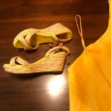 Tory Burch Yellow/Tan Espadrille Wedges Size 7
