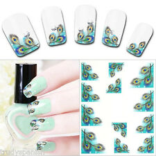 Nail Art Water Decals Wraps Decoration Blue Green Peacocks Feathers Gel Polish