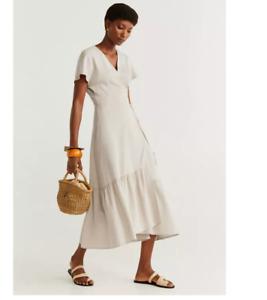 Flowing Soft Sheen Midi Length Wrap Dress In Latte Beige from Mango Size L /UK12