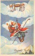 CPA fantaisie - Père Noel et petits anges