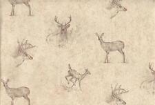 Wallpaper Hautman Brothers Brown on Tan Sketchings of Deer Bucks and Does