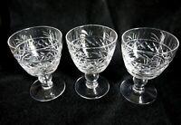 3 English Stuart Vintage Lead crystal glasses - whisky brandy spirit liqueur